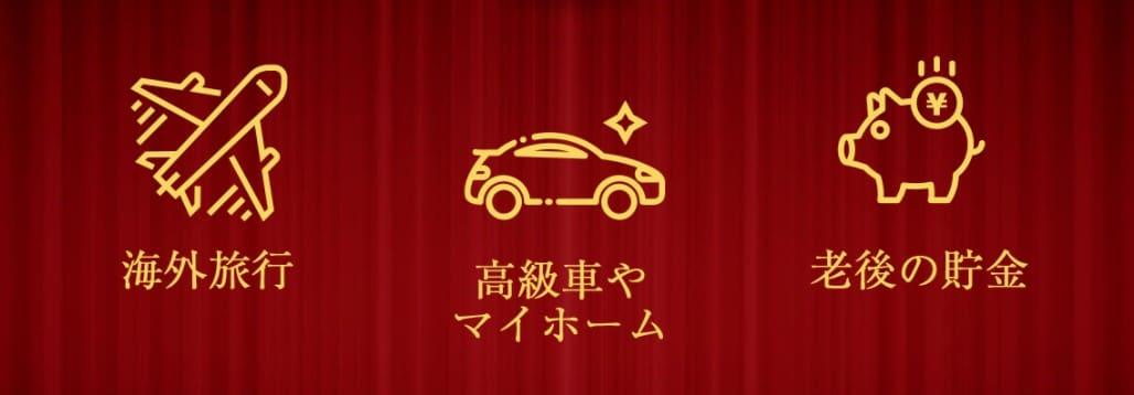 海外旅行や高級車を楽しむ